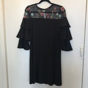 Sheer top LBD with floral embroidery